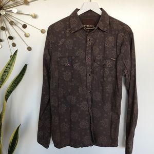 O'Neill brown snap button up casual shirt medium